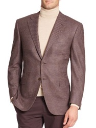 Canali Mini Check Wool Cashmere Sportcoat Medium Brown