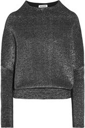 Jil Sander Metallic Wool Blend Sweater Silver