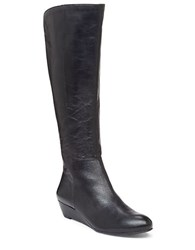 Jessica Simpson Bafford Faux Leather And Elastic Knee High Wedge Boots Black