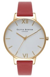Olivia Burton Women's 'Big Dial' Leather Strap Watch 38Mm Red White