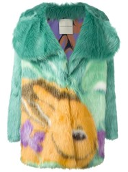 Marco De Vincenzo Printed Faux Fur Coat Green