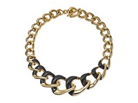 Michael Kors Autumn Luxe Acetate And Stainless Steel Curb Link Statement Necklace Gold Black Necklace