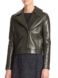 Tory Burch Waxed Leather Moto Jacket English Green