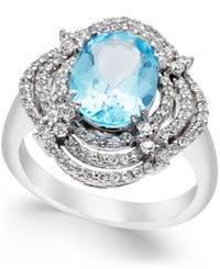 Macy's Blue Topaz 3 1 2 Ct. T.W. And Diamond 5 8 Ct. T.W. Ring In 14K White Gold
