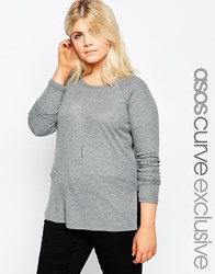 Asos Curve Tunic In Rib With Side Splits Greymarl