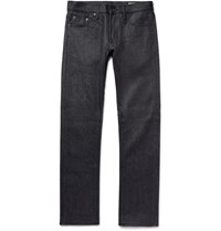 Jean Shop Mick Slim Fit Raw Selvedge Denim Jeans Dark Gray