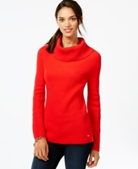 Tommy Hilfiger Ribbed Cowl Neck Sweater Racing Red