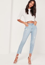 Missguided High Rise Twisted Hem Jeans Blue Blue