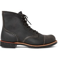 Red Wing Shoes Iron Ranger Distressed Leather Boots Charcoal