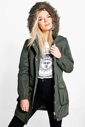 Boohoo Hooded Parka With Faux Fur Trim Khaki