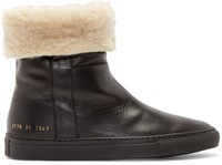 Common Projects Black Leather Sherpa Boots