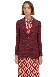 Gucci Woven Jacquard Blazer Jacket Red