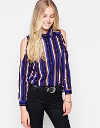 Influence Stripe Cold Shoulder Blouse Stripe Print Blue