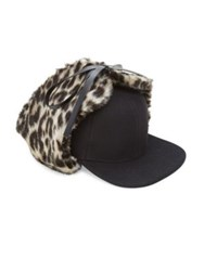 Stella Mccartney Leopard Print Faux Fur And Wool Trapper Hat Black Multi
