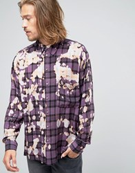 Reclaimed Vintage Bleached Festival Shirt In Reg Fit Purple
