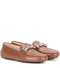 Tod's Gommini Double T Leather Loafers Brown