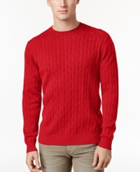 Club Room Men's Pima Cotton Cable Knit Sweater Only At Macy's Red River