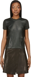 Calvin Klein Deep Green Leather And Cashmere Michelle T Shirt