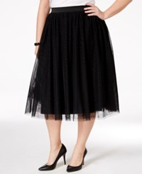 Harper And Liv Harper And Liv Plus Size Pleated Tulle Midi Skirt