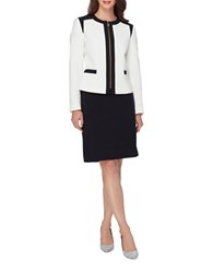 Tahari By Arthur S. Levine Colorblock Zipper Jacket And Skirt Suit Cloud White