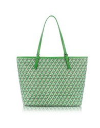 Lancaster Paris Ikon Coated Canvas And Leather Large Tote Bag Green