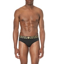 Versace Iconic Grecian Swim Trunks Black Gold