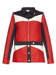 Courreges Contrast Panel Zip Through Jacket Red Multi