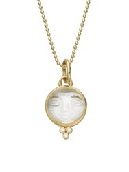 Temple St. Clair Celestial Rock Crystal Diamond And 18K Yellow Gold Medium Moonface Pendant