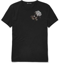 Alexander Mcqueen Slim Fit Embroidered Cotton T Shirt Black