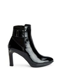 Aquatalia By Marvin K Rochelle Crinkled Patent Leather Zip Ankle Booties Black