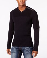 Inc International Concepts Men's Multi Textured V Neck Sweater Only At Macy's Deep Black