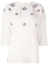 Dolce And Gabbana Sequin Star Embellished Blouse White