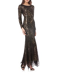 Js Collections Long Sleeve Lace Overlay Mermaid Gown Black Gold