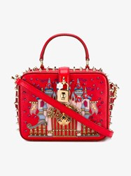 Dolce And Gabbana Castle Spiked Leather Bag Red Multi Coloured Purple