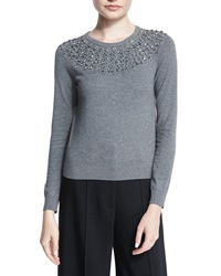 Milly Luxe Jeweled Pullover Top Grey