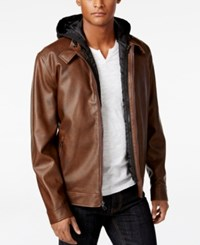 Inc International Concepts Men's Faux Leather Hooded Bib Jacket Only At Macy's Brown