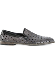 Dolce And Gabbana 'Amalfi' Perforated Slippers Grey