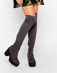 Truffle Collection Nora Over The Knee Boots Charcoal Grey