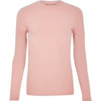 River Island Mens Pink Muscle Fit Long Sleeve T Shirt