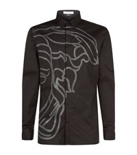 Versace Collection Beaded Medusa Casual Shirt Male Black