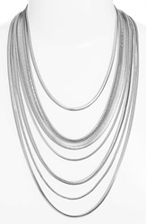 Nordstrom Women's Multistrand Snake Chain Necklace Rhodium