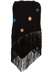 Babjades Embroidered Fringed Wide Scarf Black