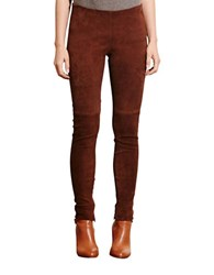 Lauren Ralph Lauren Stretch Suede Skinny Pants Brown
