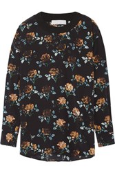 Thakoon Addition Floral Print Silk Crepe Top Midnight Blue