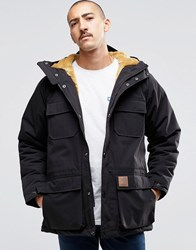 Carhartt Wip Mentley Jacket With Faux Fur Lining Black