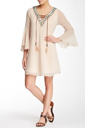 Vava Lacy Studded Trim Faux Suede Lace Up Dress White