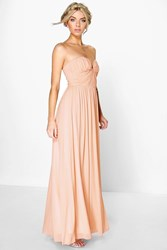 Boohoo Sia Mesh Rouched Plunge Maxi Dress Blush