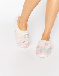 Totes Cable Knit Space Dye Mule Slippers Cream
