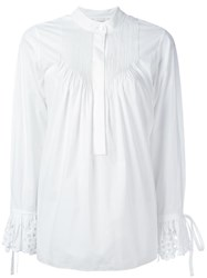 Chloe Broderie Anglaise Pintuck Blouse White