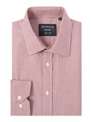 Howick Grand Slim Fit Shirt With Dogstooth Check Red